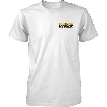 Equador Grunge Country Name Flag Effect - Mens Chest Design T-Shirt