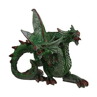 Hand Painted Green Glitter Two Headed Dragon Statue
