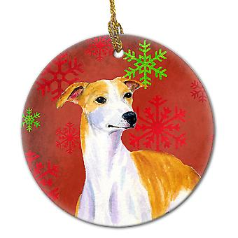 Whippet Red Snowflake Holiday Christmas Ceramic Ornament LH9328