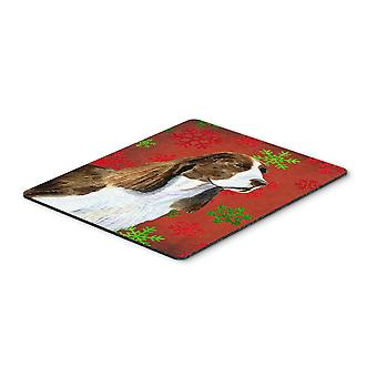 Springer Spaniel Snowflakes Holiday Christmas Mouse Pad, Hot Pad or Trivet