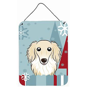 Winter Holiday Longhair Creme Dachshund Wall or Door Hanging Prints