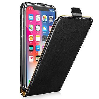 iPhone X реальных кожа флип - черный