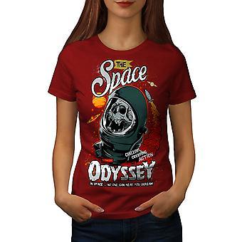 Space Odyssey Death Skull Women RedT-shirt | Wellcoda