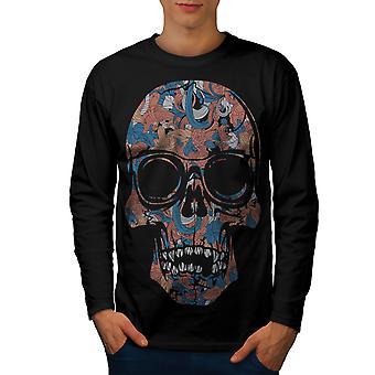 Cool tot Hipster Schädel Männer BlackLong Sleeve T-shirt | Wellcoda