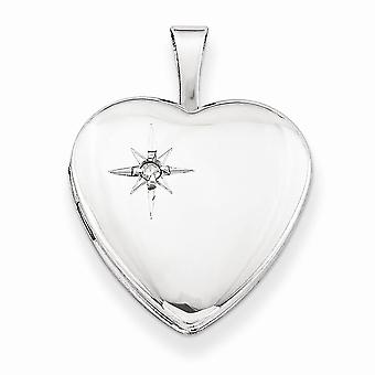 925 Sterling Silver Diamond Polished Heart Locket Charm - 21mm