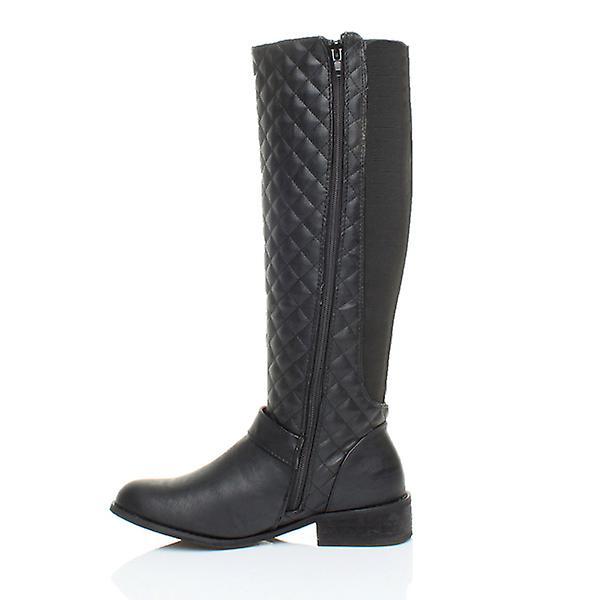 calf heel winter boots zip womens wide knee quilted Ajvani biker riding flat stretch low qvOPEO4wH