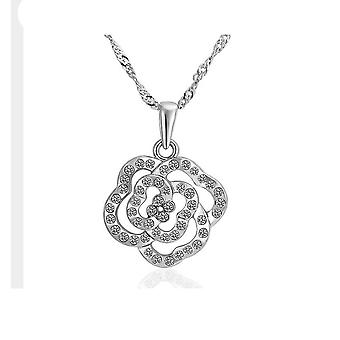 Womens Silver Cubic Zirconia Flower Pendant Necklace Crystal Stones