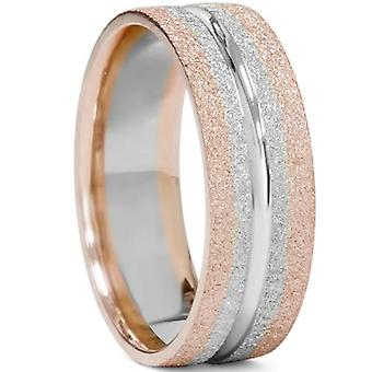 Mens to Tone 14K Rose & hvit gullet bryllup Band 6 mm flatt
