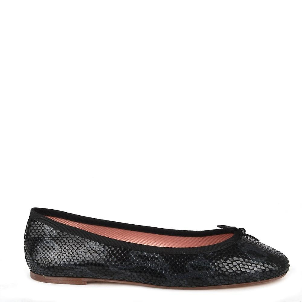 Elia B Shoes Stefania Black Python Print Ballet Flat