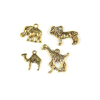 Packet 4 x Antique Gold Tibetan 16-23mm Safari Charm/Pendant Set ZX16610