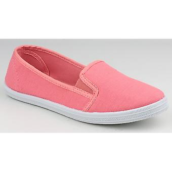 Divaz Ladies Garland Slip On Double Gusseted Summer Canvas Shoe Pink