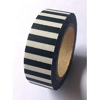 Washi Tape 15Mmx10m Black And White Stripe Lmt15x10 1130