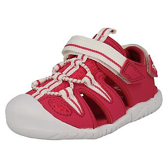 Girls Clarks Casual Sports Sandals Rapid Bay - Raspberry Textile - UK Size 6F - EU Size 22.5 - US Size 6.5M