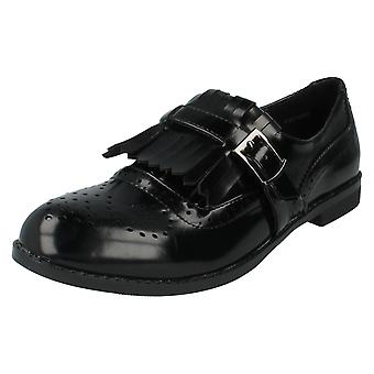 Ladies Spot On Shoes Style F80108 Black Patent Size 5 UK