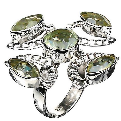 Green Topaz Silver Cocktail Ring