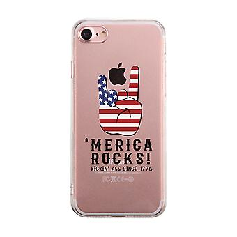 Merica Rocks Clear Phone Case Unique 4th of July Gift Phone Cover