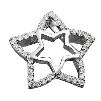 Rhodium-plated sterling silver pendant chains pendants star double star of zirconias silver