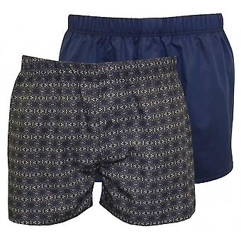 Hanro 2-Pack Fancy Woven Geo Print & Solid Boxer Shorts, Blue/Grey