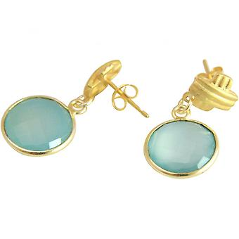 Aqua - 3,5 cm - chalcedony - gold-plated ladies - earrings - 925 sterling silver-