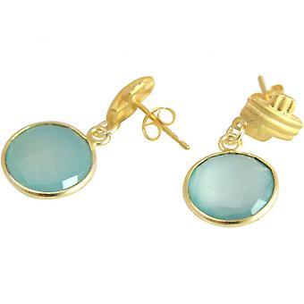 Damen - Ohrringe - 925 Sterling Silber - Vergoldet - Chalzedon - Aqua - 3,5 cm