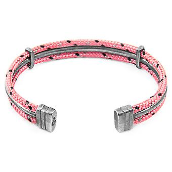 Anchor & Crew Pink Aire Silver and Rope Bangle