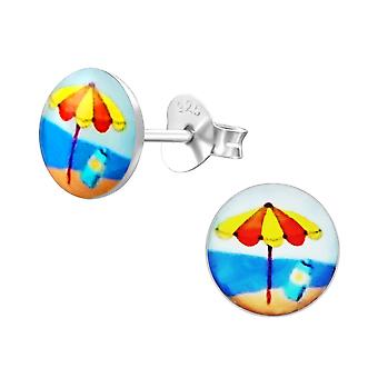 Beach - 925 Sterling Silver Colourful Ear Studs