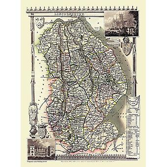 Karte von Lincolnshire 1836 durch Thomas Moule 1000 Stück Jigsaw Puzzle (Jhg)
