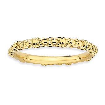 Sterling Silver Polished Patterned Stackable Expressions Gold-Flashed Cable Ring - Ring Size: 5 to 10