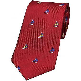 David Van Hagen velero país corbata de seda - rojo