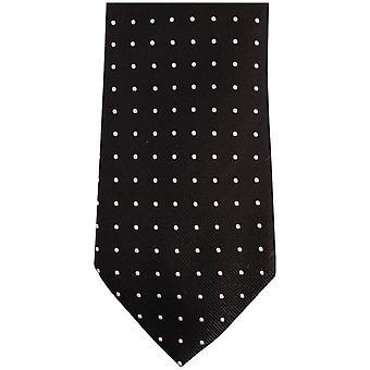 Bassin and Brown Medium Spot Silk Tie - Black/Grey