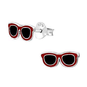Sun Glasses - 925 Sterling Silver Colourful Ear Studs - W29132x