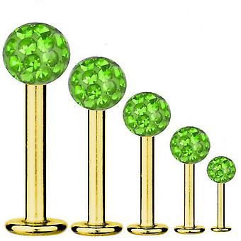 Labret Bar Tragus Piercing Gold plattiert Titan 1,2 mm, Multi Kristall Kugel grün | 5-12 mm