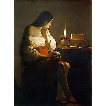 The Magdalen with the Nightlighe,Georges de La Tour,50x40cm