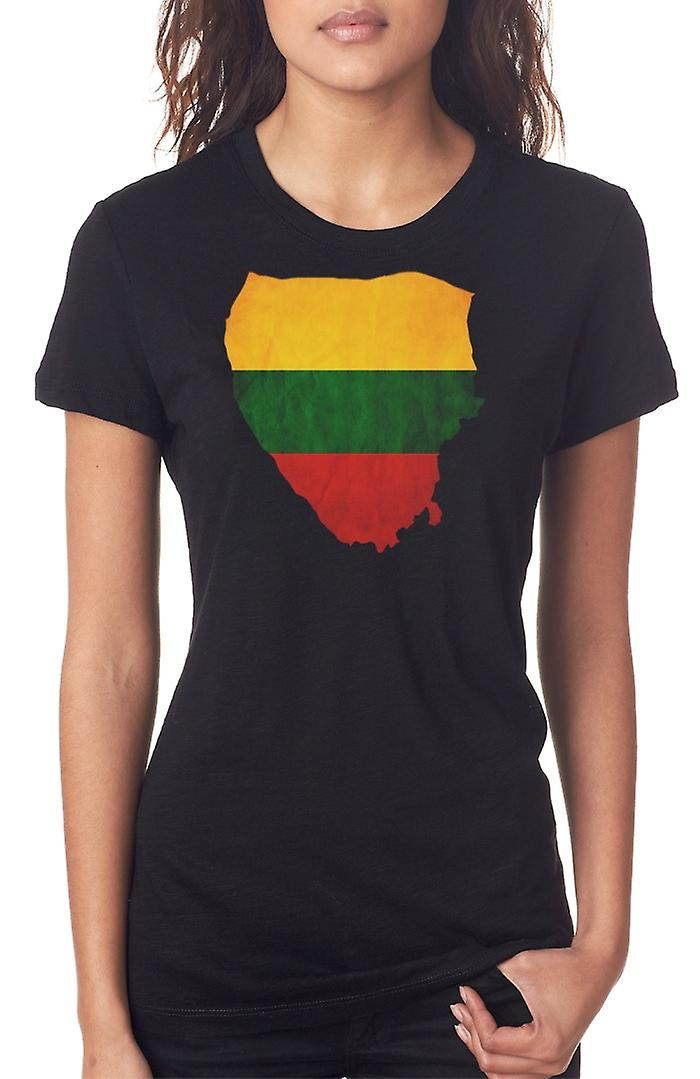 Lithuania Lithuanian Flag Map Ladies T Shirt