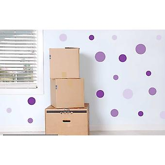 Full Colour Set of 19 Purple Lavender Lilac Polka Dot Spots Wall Stickers
