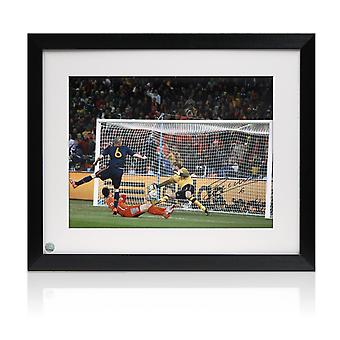 Framed Andres Iniesta Signed Spain Photo: World Cup 2010 Winning Goal