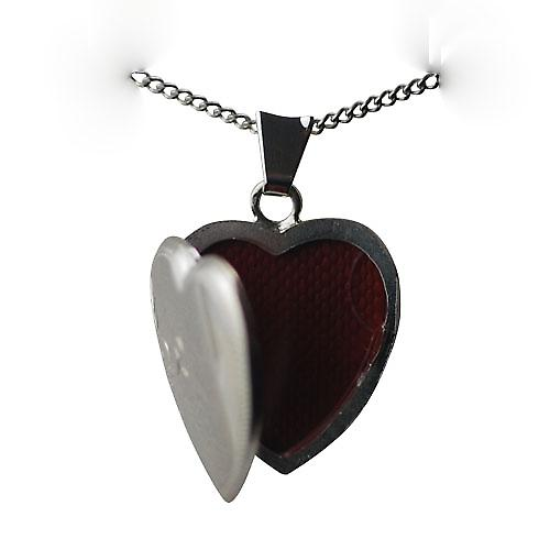 Silver 21x19mm hand engraved heart shaped Locket with a curb Chain 24 inches