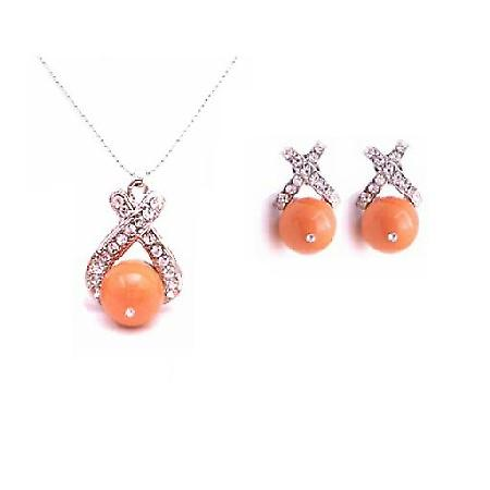 Magnificent Swarovski Pearl Necklace Set Coral Pearl Jewelry Set