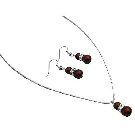 Beautiful Inexpensive Unique Jewelry Burnt Brown Pearls Set
