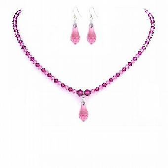 Rose Pink & Fuchsia Crystals Jewelry Set w/ Teardrop Necklace Set