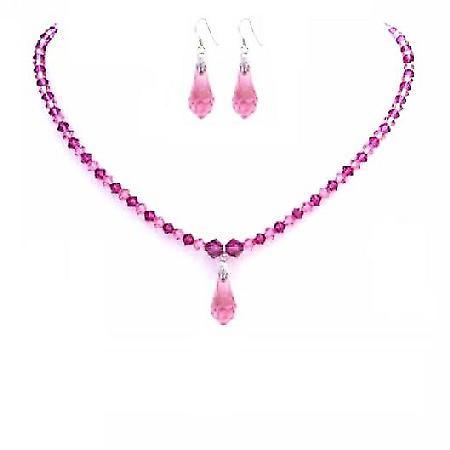 Rose Pink & Fuchsia Crystals Jewelry Set w/ Teardrop Necklace Set