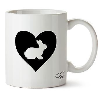 Hippowarehouse hjärtat kanin tryckt mugg kopp keramik 10oz