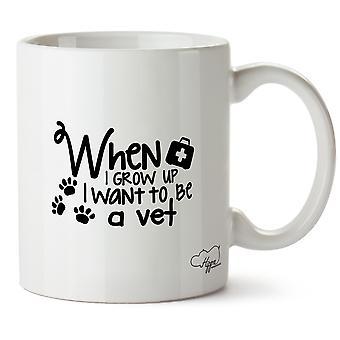 Hippowarehouse 私は獣医になりたい育つとき印刷マグカップ カップ セラミック 10 オンス