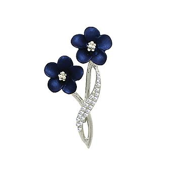 Eternal Collection Anemone Navy Blue Enamel Clear Crystal Silver Tone Brooch