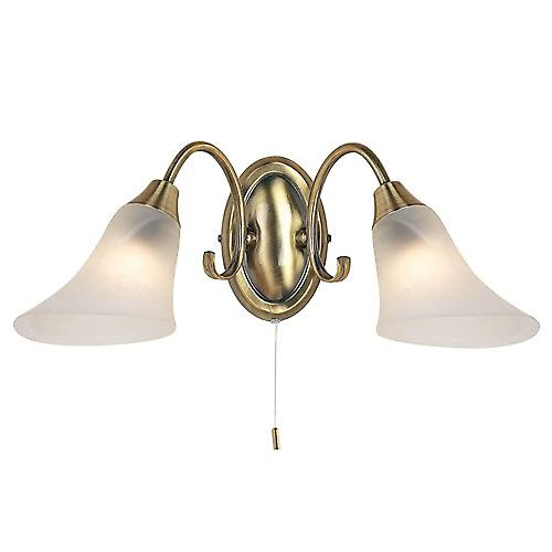 Endon 144-2AN Switched Traditional Brass Double Wall Light