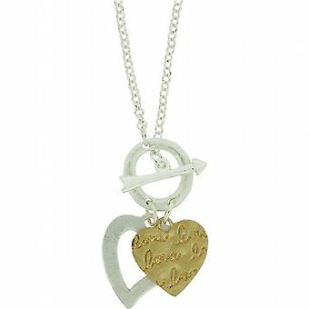 Park Lane Ladies Two Tone Double Heart Charm Necklace with T-Bar Closure