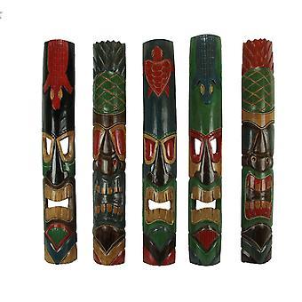 Set van 5 Hand vervaardigde felgekleurde Polynesische stijl Tiki-maskers 39 in.