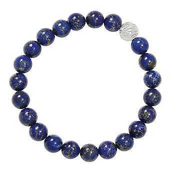 Eternal Collection Debutante Lapis Lazuli Semi Precious Beaded Silver Tone Stretch Bracelet