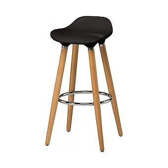 Fusion Living Black Plastic Bar Sgabello con gambe in legno di faggio