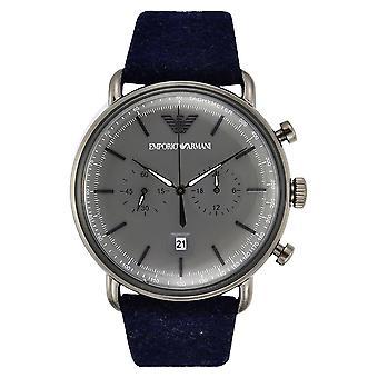 ساعة إمبريو أرماني Ar11144 مينا رمادية سوار جلد أزرق